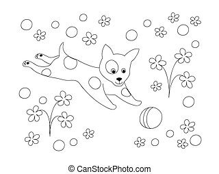 coloring page with puppy playing with ball