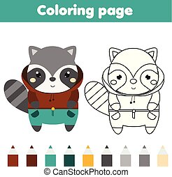 Coloring page with raccoon. Drawing kids activity. Printable toddlers fun