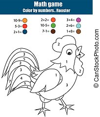 Coloring page with rooster. Color by numbers, mathematics...