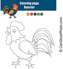 Coloring page with rooster. Educational game, drawing kids...