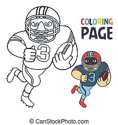 coloring page with rugby football player cartoon