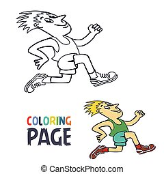 coloring page with running man cartoon