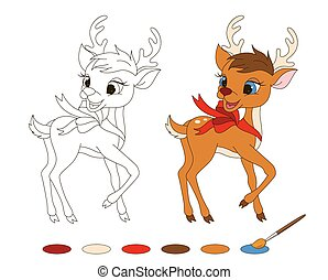 Coloring page with Santa's reindeer.