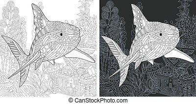 Coloring page with shark