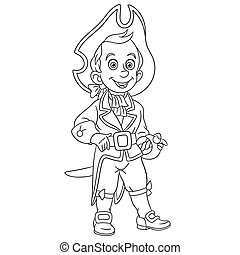 coloring page with ship sailor pirate captain
