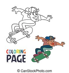 coloring page with skateboard player cartoon