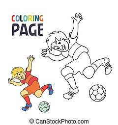 coloring page with soccer football player cartoon
