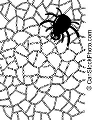 Coloring page with spider and web