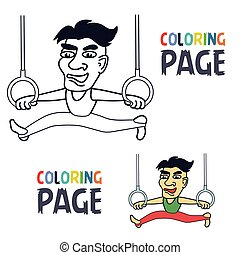 coloring page with sportman training cartoon