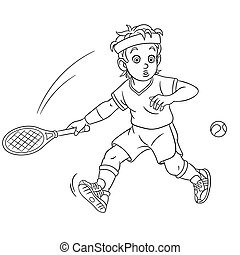 coloring page with tennis player