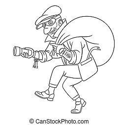 coloring page with thief criminal