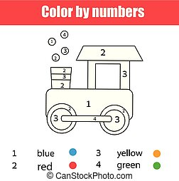 Coloring Page With Toy Train Color By Numbers Printable Worksheet Educational Game For