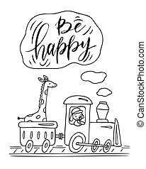 Coloring page with train, giraffe and dog. Be happy.