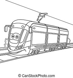 coloring page with tram trolley car