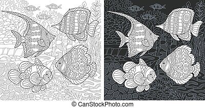 Coloring page with tropical fishes