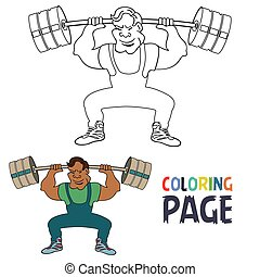 coloring page with weightlifting player cartoon