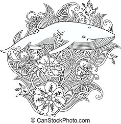 Coloring page with whale in flowers and leafs isolated on white background.