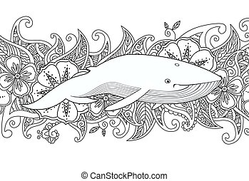 Coloring page with whale in the sea on flower border background.