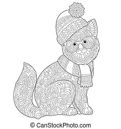 coloring page with winter cat
