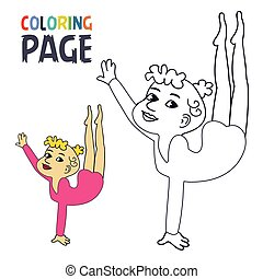 coloring page with woman ballet cartoon