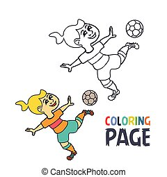 coloring page with woman football player cartoon