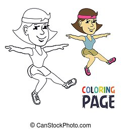coloring page with woman gymnastic cartoon