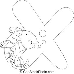 Coloring Page Illustration Featuring an X-ray Fish