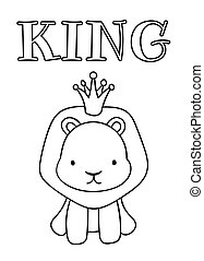 Coloring pages, black and white cute hand drawn lion doodles, lettering king