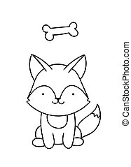 Coloring pages, black and white cute kawaii hand drawn wolf and bone doodles
