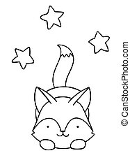 Coloring pages, black and white cute kawaii hand drawn wolf and stars doodles