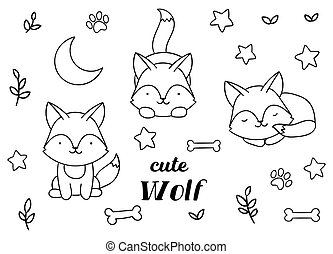Coloring pages, black and white, set cute kawaii hand drawn wolf doodles