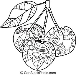 Coloring pages for adults. Cherry sketch. Fruits vector illustration.