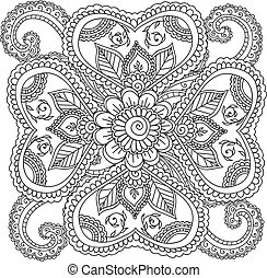 Coloring pages for adults. Henna Mehndi Doodles Abstract Floral Elements.