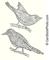 Coloring pages for adults. Little wild birds for with pattern vector illustration on body bird sitting on branch