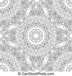 Coloring pages for adults.Decorative hand drawn doodle nature ornamental curl vector sketchy seamless pattern