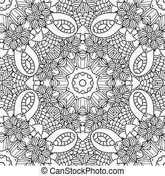 Coloring pages for adults.Decorative hand drawn doodle nature ornamental curl vector sketchy seamless pattern.