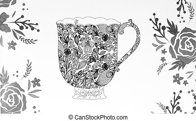 coloring pages for adults,tea - colouring book,Cup of tea,a...