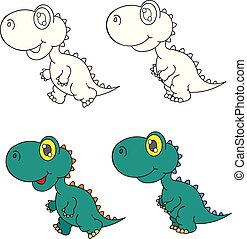 dino - coloring pages for childrens with funny animals,dino