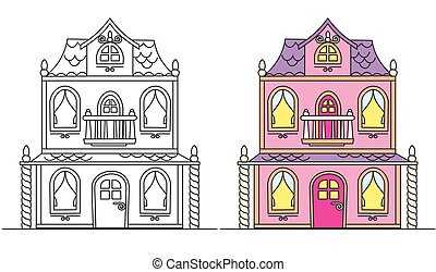 Coloring Pages for Kids. Pretty Pink Doll's House