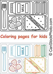 Coloring pages for kids with lunch tray