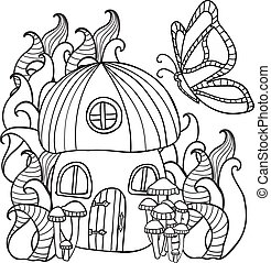 Coloring Pages Mushroom House With A Butterfly In The Fores