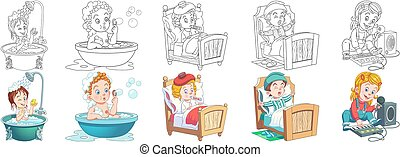 Coloring pages set for kids