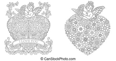 Coloring pages with baby angels