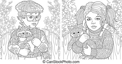 Coloring pages with boy and girl embracing animals