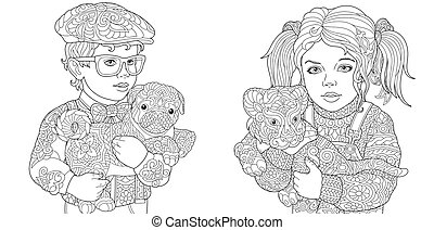 Coloring pages with boy and girl holding pets