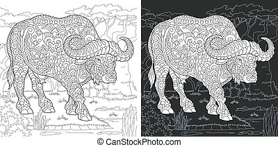 Coloring pages with buffalo