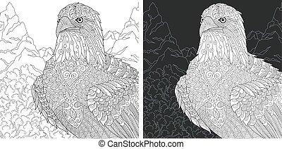 Coloring pages with eagle