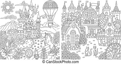 Coloring pages with fantasy castles