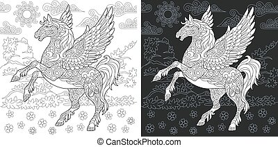 Coloring pages with fantasy pegasus