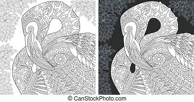 Coloring pages with flamingo